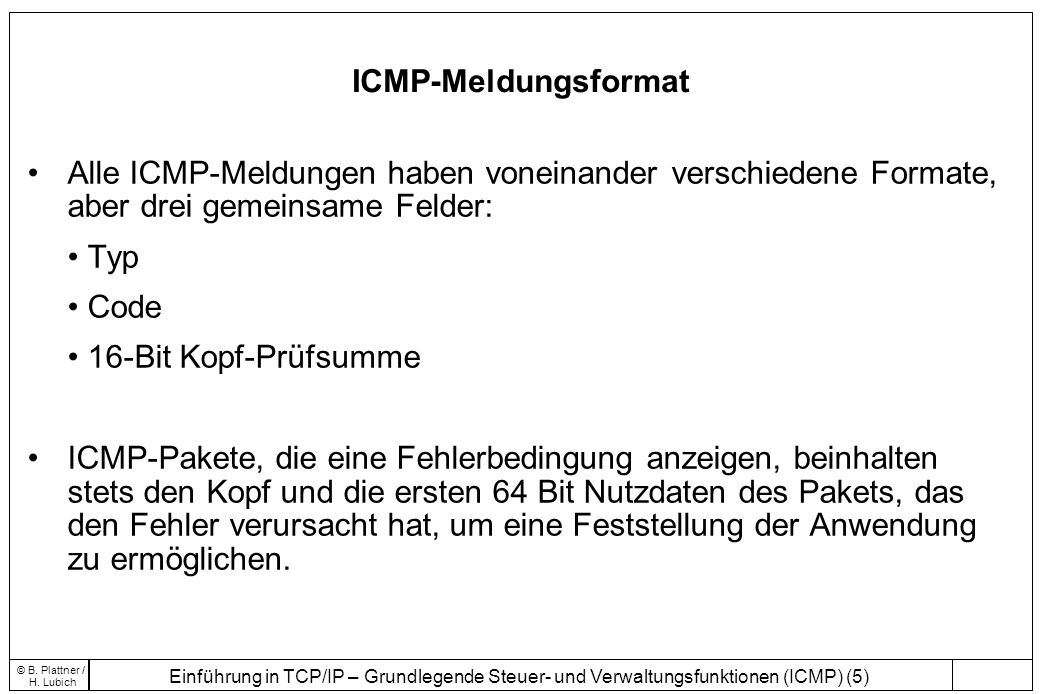 Einführung in TCP/IP – Grundlegende Steuer- und Verwaltungsfunktionen (ICMP) (5) © B. Plattner / H. Lubich ICMP-Meldungsformat Alle ICMP-Meldungen hab