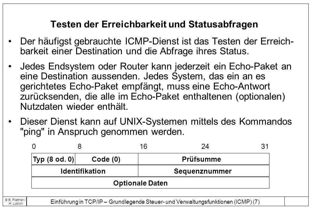 Einführung in TCP/IP – Grundlegende Steuer- und Verwaltungsfunktionen (ICMP) (7) © B. Plattner / H. Lubich Testen der Erreichbarkeit und Statusabfrage