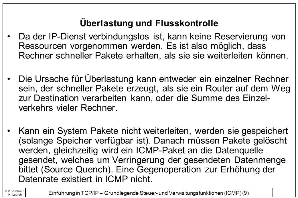 Einführung in TCP/IP – Grundlegende Steuer- und Verwaltungsfunktionen (ICMP) (9) © B. Plattner / H. Lubich Überlastung und Flusskontrolle Da der IP-Di