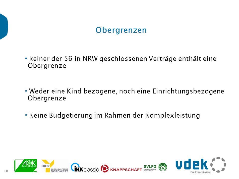 10 Obergrenzen keiner der 56 in NRW geschlossenen Verträge enthält eine Obergrenze Weder eine Kind bezogene, noch eine Einrichtungsbezogene Obergrenze