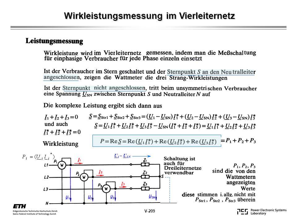 Wirkleistungsmessung im Vierleiternetz V-209 U 1 – U SN