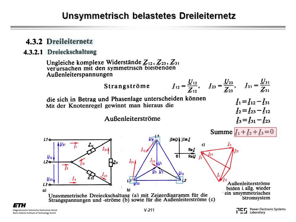 Unsymmetrisch belastetes Dreileiternetz V-211