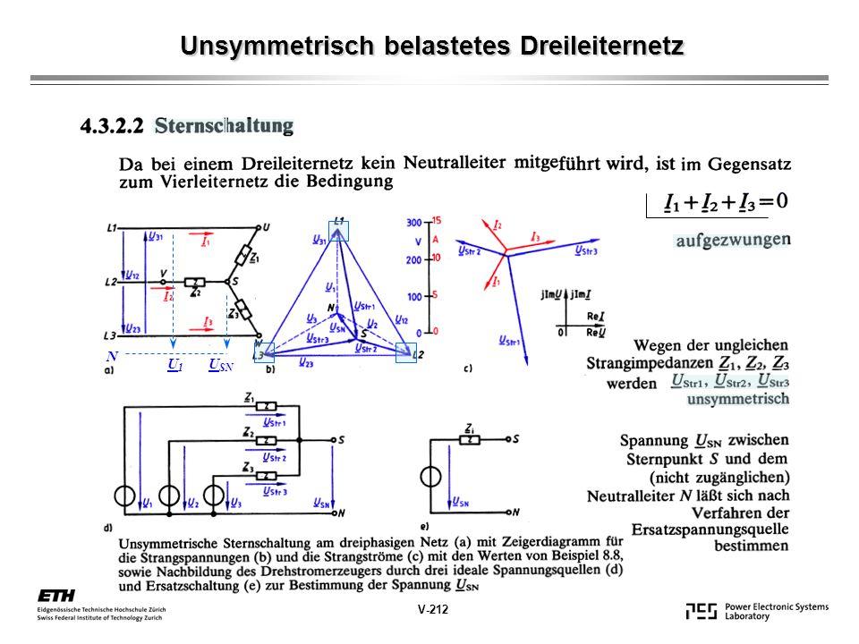 V-212 Unsymmetrisch belastetes Dreileiternetz N U SN U1U1