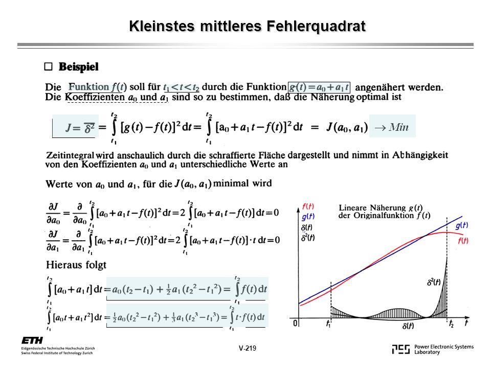 Kleinstes mittleres Fehlerquadrat V-219