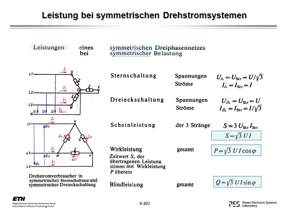 Leistung bei symmetrischen Drehstromsystemen V-203