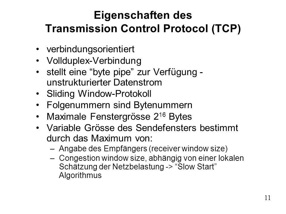 11 Eigenschaften des Transmission Control Protocol (TCP) verbindungsorientiert Vollduplex-Verbindung stellt eine byte pipe zur Verfügung - unstrukturi
