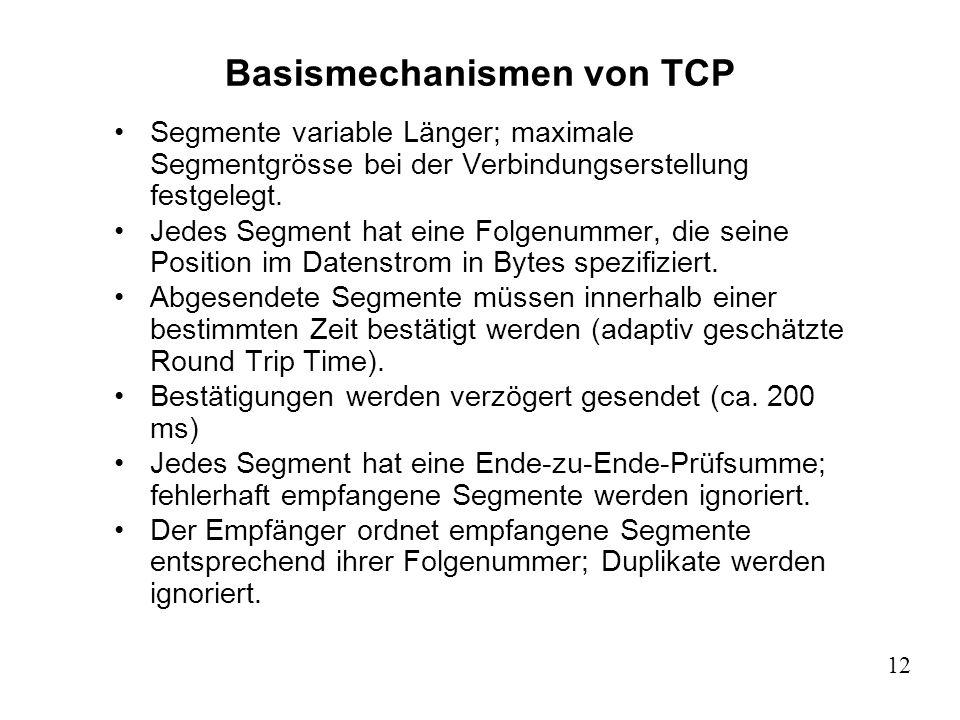 12 Basismechanismen von TCP Segmente variable Länger; maximale Segmentgrösse bei der Verbindungserstellung festgelegt. Jedes Segment hat eine Folgenum