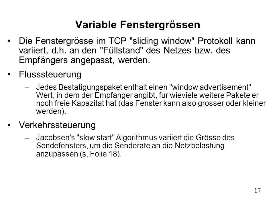 17 Variable Fenstergrössen Die Fenstergrösse im TCP