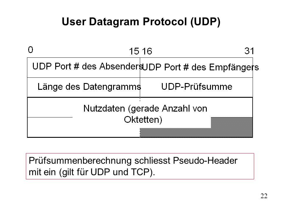 22 User Datagram Protocol (UDP) Prüfsummenberechnung schliesst Pseudo-Header mit ein (gilt für UDP und TCP).