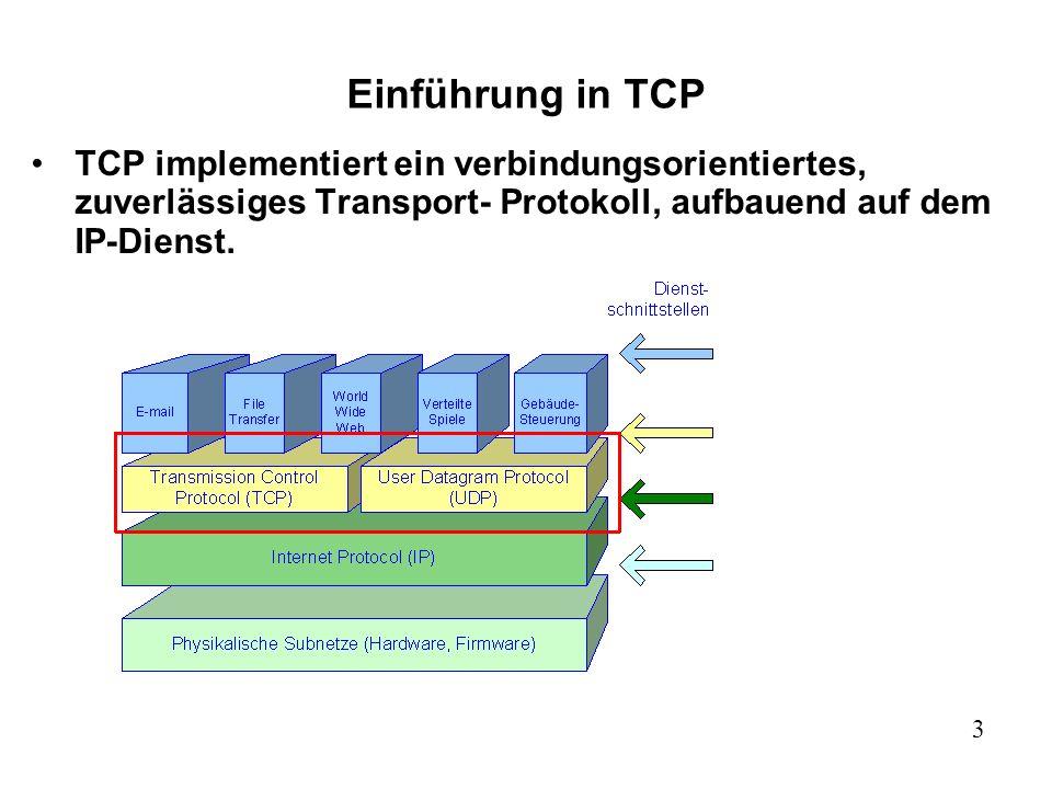 3 Einführung in TCP TCP implementiert ein verbindungsorientiertes, zuverlässiges Transport- Protokoll, aufbauend auf dem IP-Dienst.