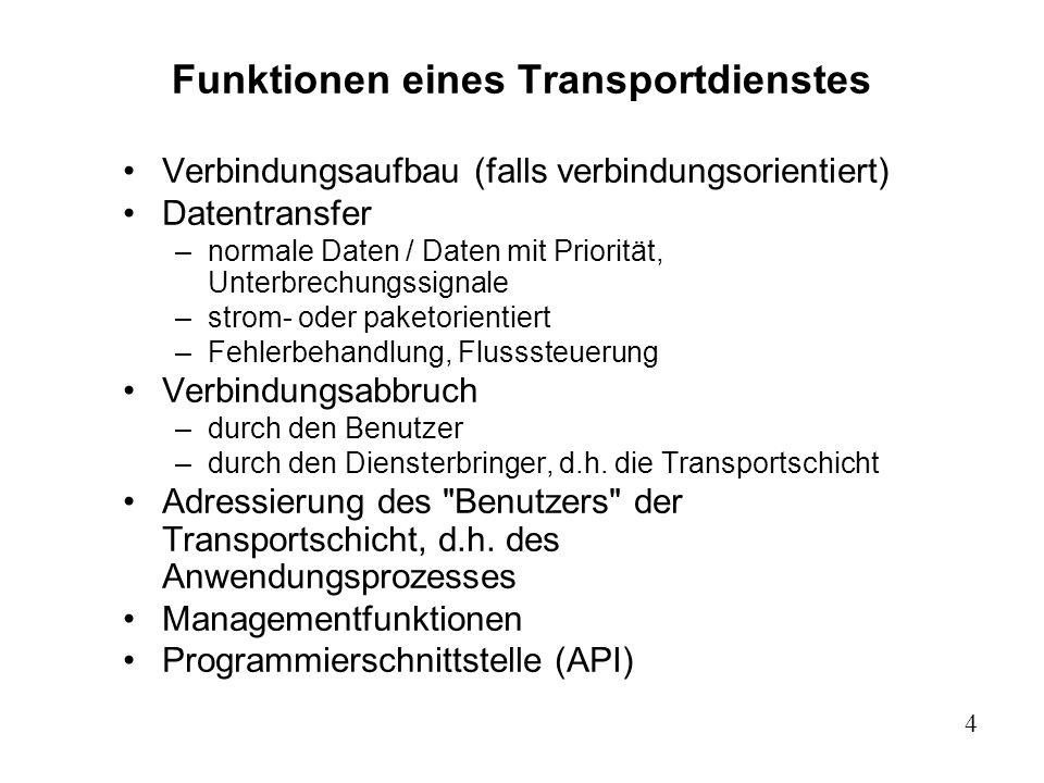 4 Funktionen eines Transportdienstes Verbindungsaufbau (falls verbindungsorientiert) Datentransfer –normale Daten / Daten mit Priorität, Unterbrechung