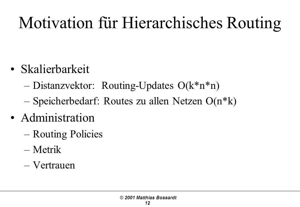 © 2001 Matthias Bossardt 12 Motivation für Hierarchisches Routing Skalierbarkeit –Distanzvektor: Routing-Updates O(k*n*n) –Speicherbedarf: Routes zu allen Netzen O(n*k) Administration –Routing Policies –Metrik –Vertrauen