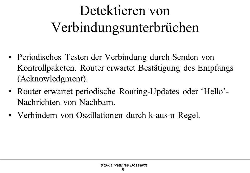 © 2001 Matthias Bossardt 9 Count-to-infinity Problem Gegenmassnahmen –Nur für Schleifen mit 2 Knoten –Unendlich limitieren –Split horizon (siehe Skript & Buch) –Split horizon with poison reverse ABC 11 X