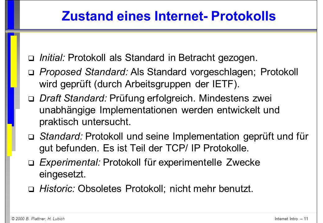 © 2000 B. Plattner, H. Lubich Internet Intro – 11 Zustand eines Internet- Protokolls q Initial: Protokoll als Standard in Betracht gezogen. q Proposed