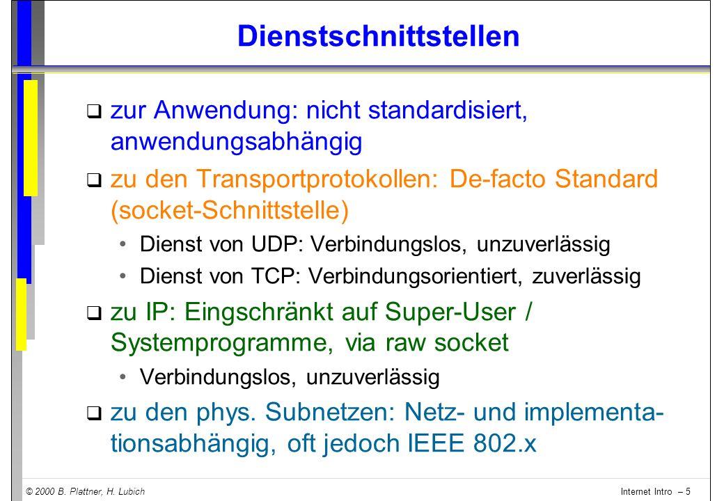 © 2000 B. Plattner, H. Lubich Internet Intro – 5 Dienstschnittstellen q zur Anwendung: nicht standardisiert, anwendungsabhängig q zu den Transportprot