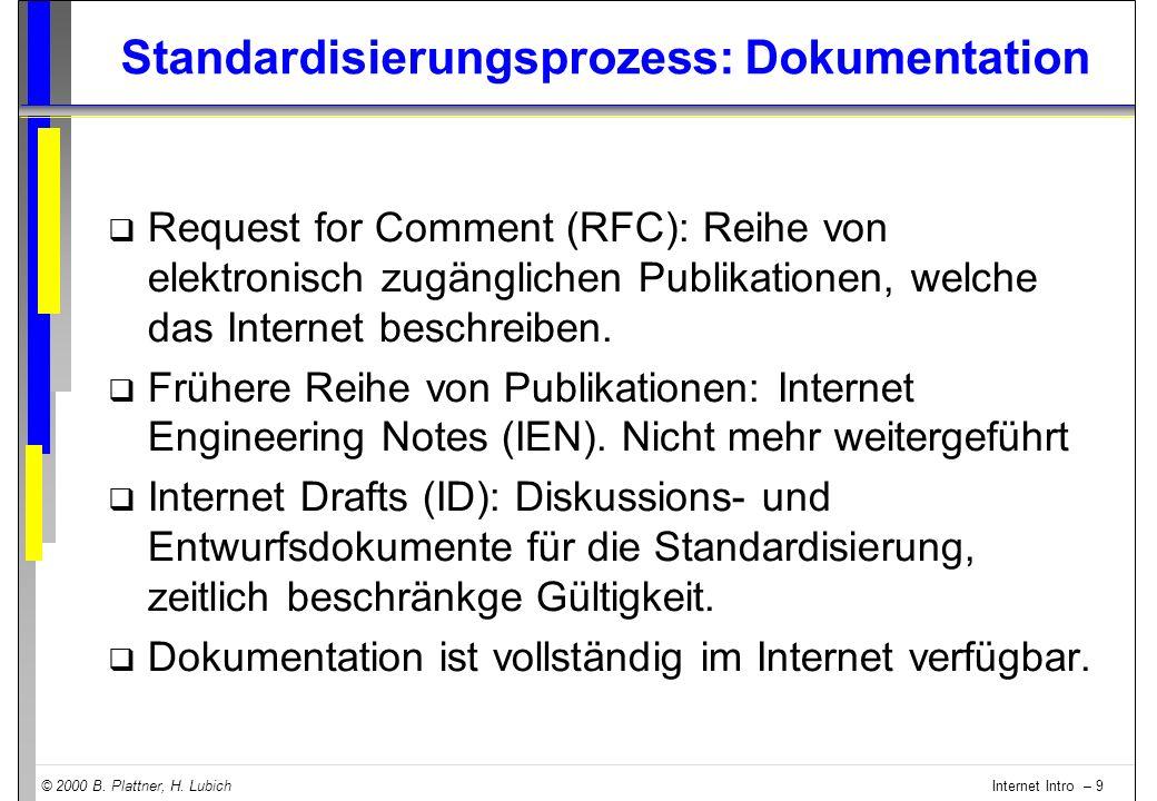 © 2000 B. Plattner, H. Lubich Internet Intro – 9 Standardisierungsprozess: Dokumentation q Request for Comment (RFC): Reihe von elektronisch zugänglic