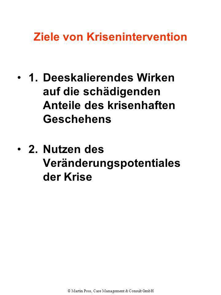 © Martin Poss, Care Management & Consult GmbH Ziele von Krisenintervention 1.Deeskalierendes Wirken auf die schädigenden Anteile des krisenhaften Gesc