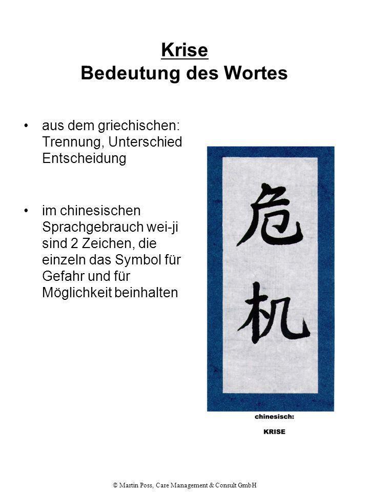 © Martin Poss, Care Management & Consult GmbH Krise Bedeutung des Wortes aus dem griechischen: Trennung, Unterschied, Entscheidung im chinesischen Spr
