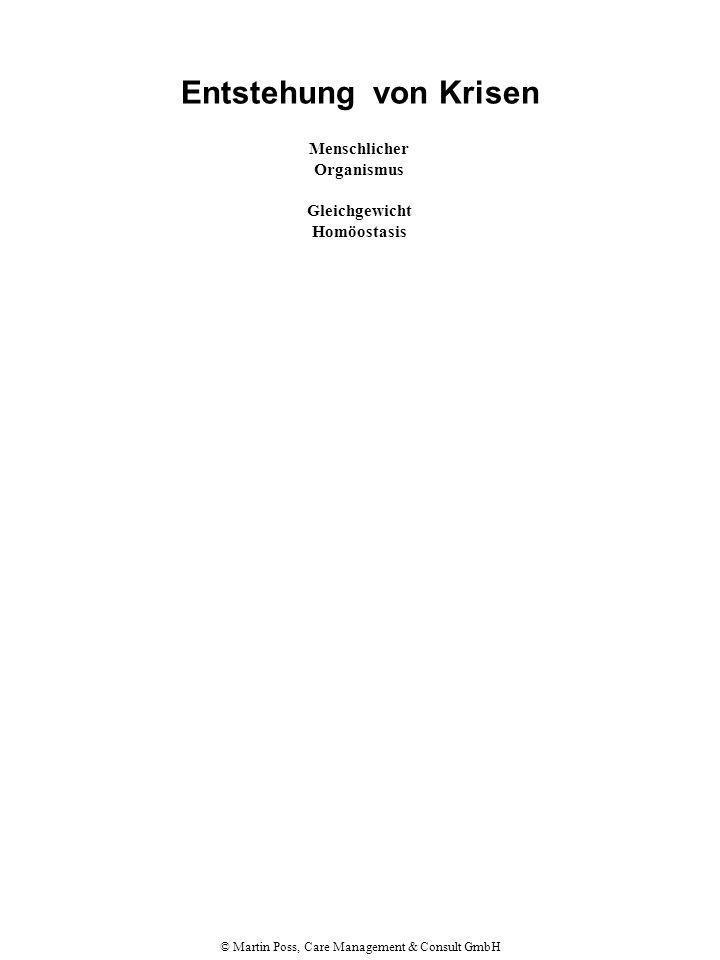 © Martin Poss, Care Management & Consult GmbH Entstehung von Krisen Menschlicher Organismus Gleichgewicht Homöostasis Ungleichgewicht Grenzsituation Versuch, die Homöostasis wieder herzustellen Belastungssituation A Verarbeitungsmöglichkeiten vorhanden Realistische Einschätzung der Situation plus angemessene Unterstützung in der Situation plus angemessene Bewältigungs- mechanismen führen zu Lösung des Problems Wiederherstellung des Gleichgewichts Ergebnis B Verarbeitungsmöglichkeiten teilweise o.