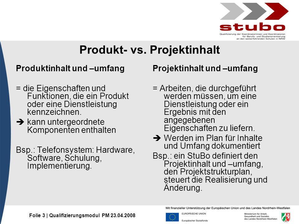 Folie 3 | Qualifizierungsmodul PM 23.04.2008 Produkt- vs. Projektinhalt Produktinhalt und –umfang = die Eigenschaften und Funktionen, die ein Produkt