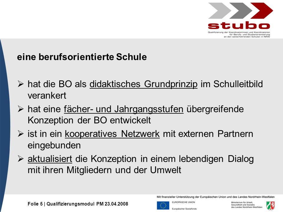 Folie 6   Qualifizierungsmodul PM 23.04.2008 Berufsorientierung als Bestandteil der schulischen individuellen Förderung 1.Rahmenkonzept des Ausbildungskonsens NRW (16.05.2007) 2.Aktualisierung des Erlasses StuBo (RdErl.