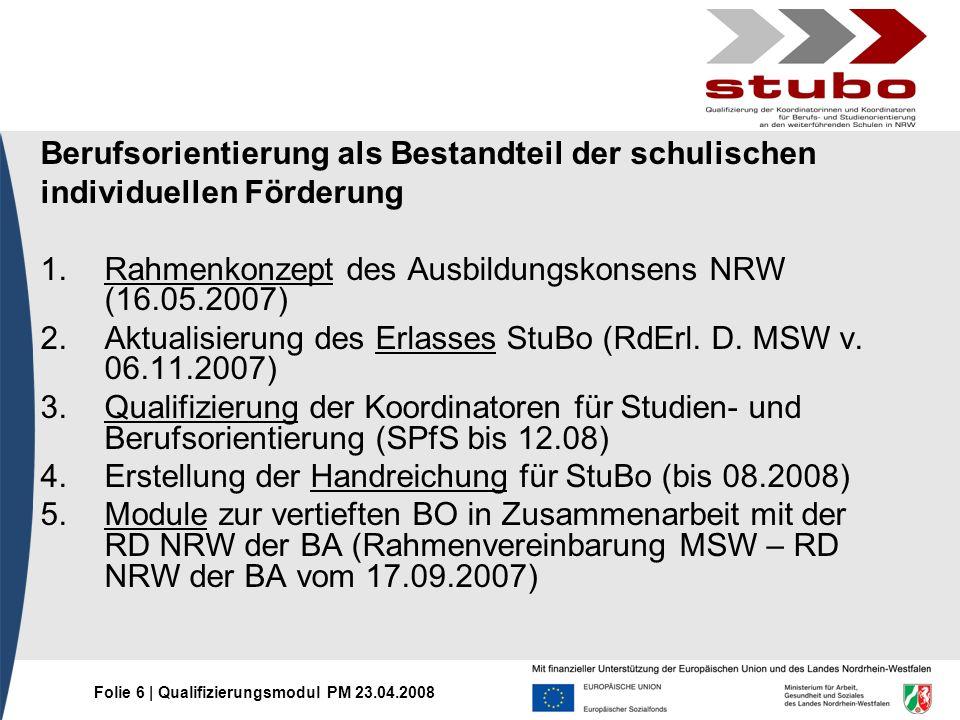 Folie 6 | Qualifizierungsmodul PM 23.04.2008 Berufsorientierung als Bestandteil der schulischen individuellen Förderung 1.Rahmenkonzept des Ausbildung