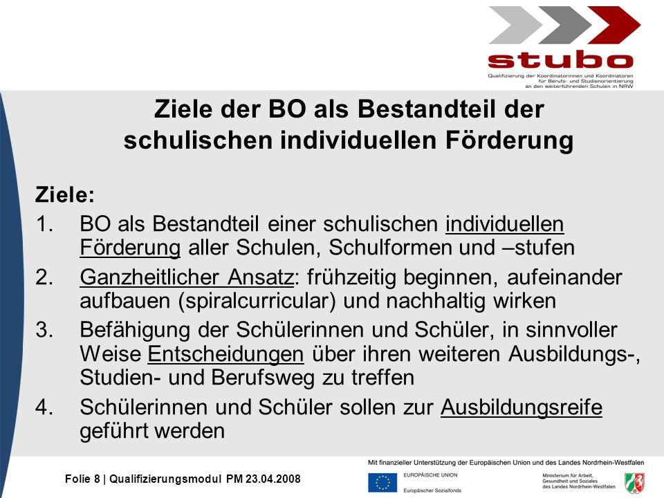 Folie 8 | Qualifizierungsmodul PM 23.04.2008 Ziele der BO als Bestandteil der schulischen individuellen Förderung Ziele: 1.BO als Bestandteil einer sc