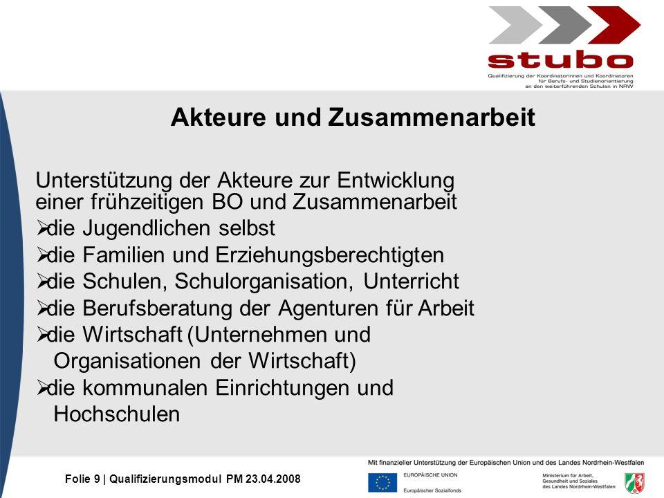 Folie 9 | Qualifizierungsmodul PM 23.04.2008 Akteure und Zusammenarbeit Unterstützung der Akteure zur Entwicklung einer frühzeitigen BO und Zusammenar