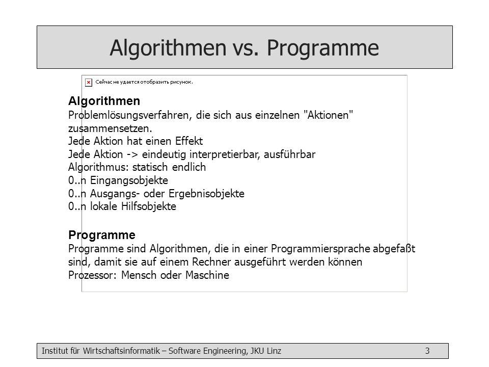 Institut für Wirtschaftsinformatik – Software Engineering, JKU Linz 3 Algorithmen Problemlösungsverfahren, die sich aus einzelnen Aktionen zusammensetzen.