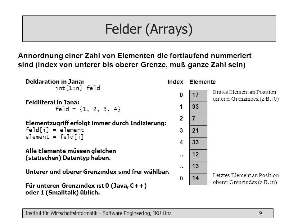 Institut für Wirtschaftsinformatik – Software Engineering, JKU Linz 9 Felder (Arrays) Deklaration in Jana: int[1:n] feld Feldliteral in Jana: feld = {1, 2, 3, 4} Elementzugriff erfolgt immer durch Indizierung: feld[i] = element element = feld[i] Alle Elemente müssen gleichen (statischen) Datentyp haben.