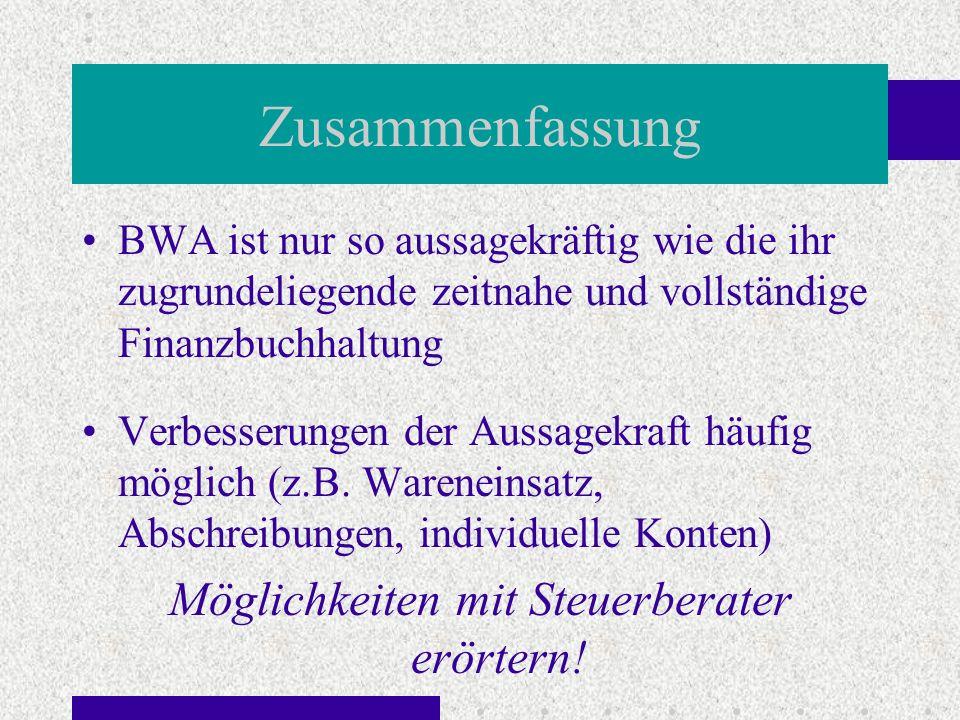 Zusammenfassung BWA ist nur so aussagekräftig wie die ihr zugrundeliegende zeitnahe und vollständige Finanzbuchhaltung Verbesserungen der Aussagekraft