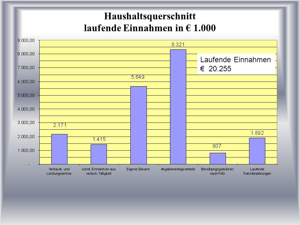 Haushaltsquerschnitt laufende Ausgaben 2006 in 1.000 Laufende Ausgaben gesamt 19.010 Freier Rahmen 1.245.800,--
