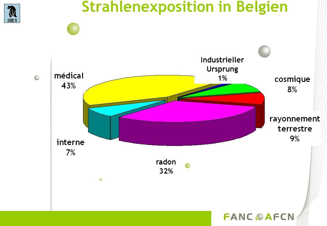 Strahlenexposition in Belgien Industrieller Ursprung 1% radon 32%