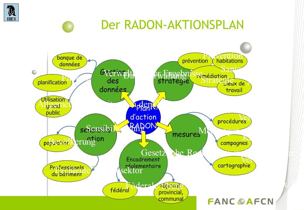 Der RADON-AKTIONSPLAN Planung Datenbank Datenverwaltung Strategie Prävention Wohnhäuser Sanierung Arbeitsplatz Verfahren Kampagnen Verteilung Messunge
