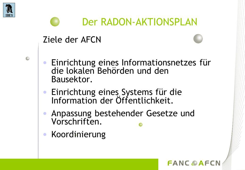 Der RADON-AKTIONSPLAN Ziele der AFCN Einrichtung eines Informationsnetzes für die lokalen Behörden und den Bausektor. Einrichtung eines Systems für di