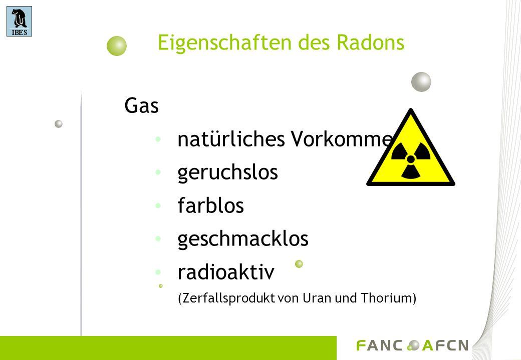 Eigenschaften des Radons Gas natürliches Vorkommen geruchslos farblos geschmacklos radioaktiv (Zerfallsprodukt von Uran und Thorium)