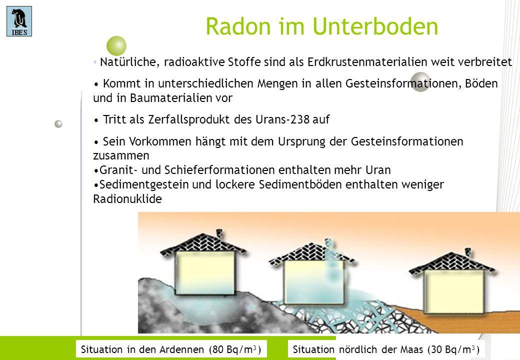 Radon im Unterboden Situation in den Ardennen (80 Bq/m³)Situation nördlich der Maas (30 Bq/m³) Natürliche, radioaktive Stoffe sind als Erdkrustenmater