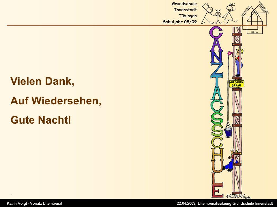 Katrin Voigt - Vorsitz Elternbeirat 22.04.2009, Elternbeiratssitzung Grundschule Innenstadt Grundschule Innenstadt Tübingen Schuljahr 08/09 Titel Vielen Dank, Auf Wiedersehen, Gute Nacht!