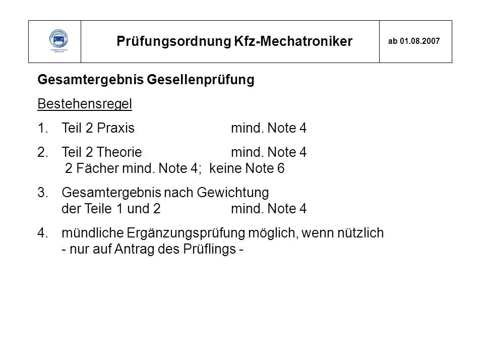 Prüfungsordnung Kfz-Mechatroniker ab 01.08.2007 Gesamtergebnis Gesellenprüfung Bestehensregel 1.Teil 2 Praxis mind. Note 4 2.Teil 2 Theorie mind. Note
