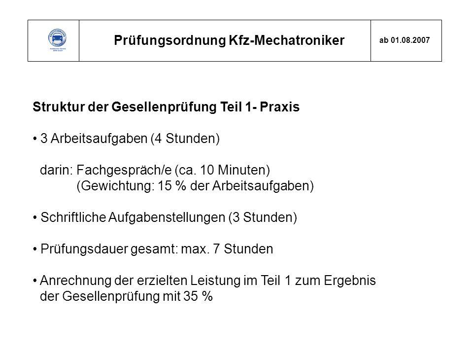 Prüfungsordnung Kfz-Mechatroniker ab 01.08.2007 Struktur der Gesellenprüfung Teil 1- Praxis 3 Arbeitsaufgaben (4 Stunden) darin: Fachgespräch/e (ca. 1
