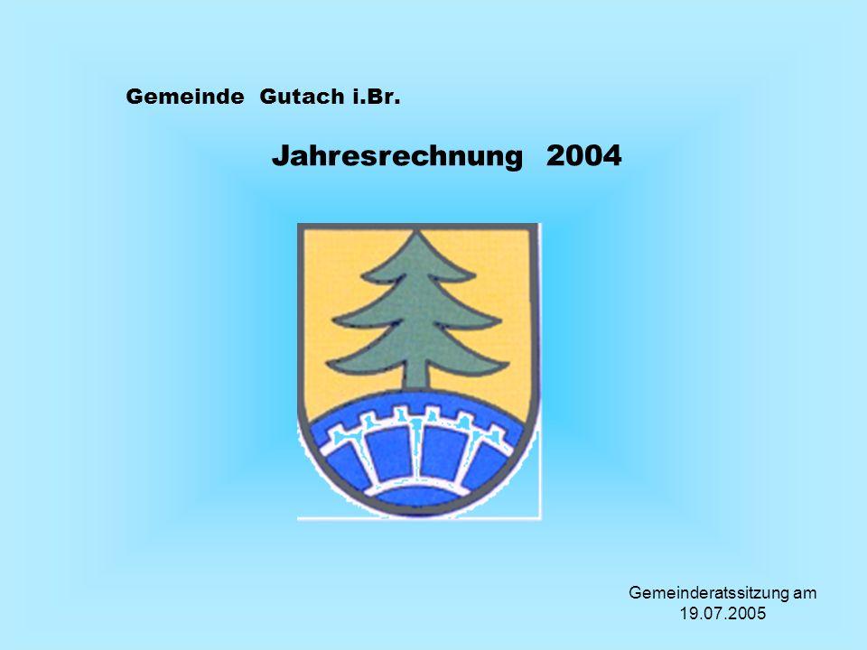 Gemeinde Gutach i.Br. Jahresrechnung 2004 Gemeinderatssitzung am 19.07.2005