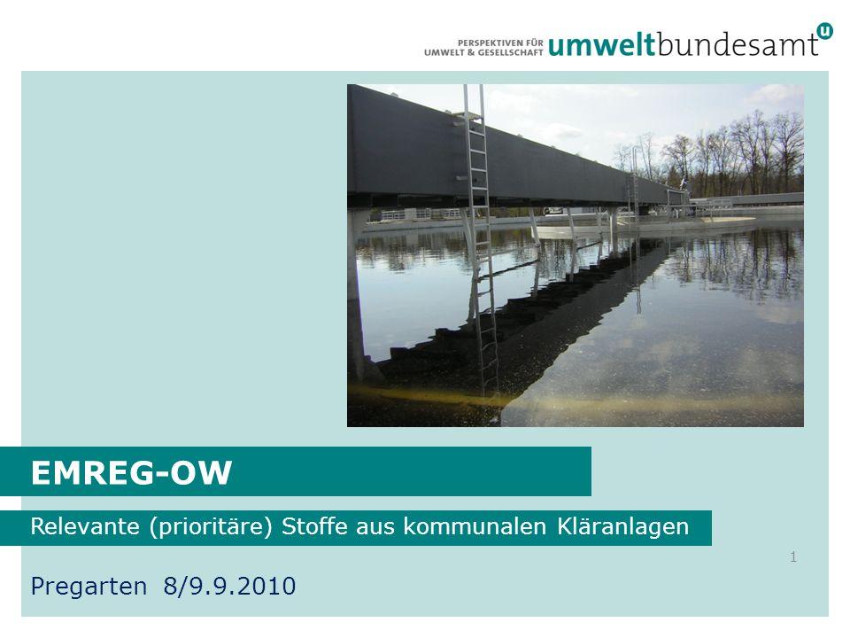 EMREG-OW Relevante (prioritäre) Stoffe aus kommunalen Kläranlagen 1 Pregarten 8/9.9.2010