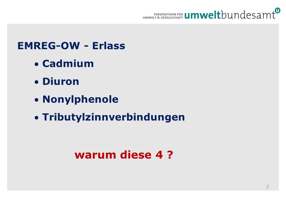 EMREG-OW - Erlass Cadmium Diuron Nonylphenole Tributylzinnverbindungen warum diese 4 ? 2