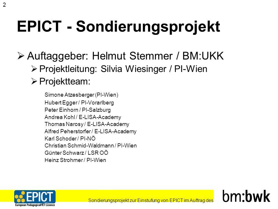 Sondierungsprojekt zur Einstufung von EPICT im Auftrag des 13 Verpflichtendes EPICT-Modul