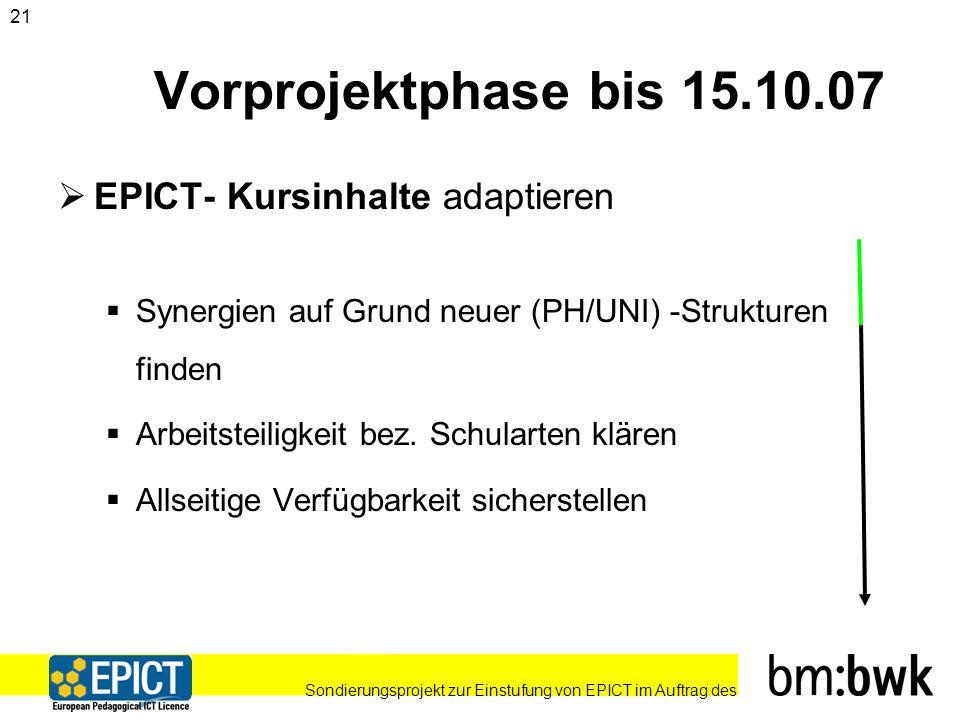 Sondierungsprojekt zur Einstufung von EPICT im Auftrag des 21 Vorprojektphase bis 15.10.07 EPICT- Kursinhalte adaptieren Synergien auf Grund neuer (PH/UNI) -Strukturen finden Arbeitsteiligkeit bez.