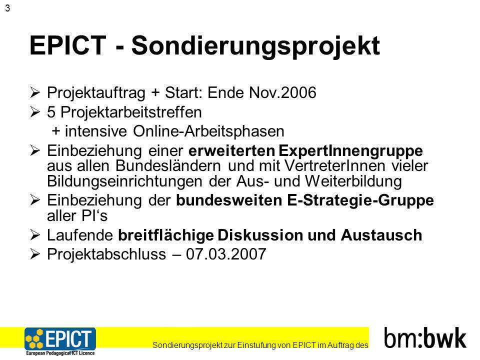 Sondierungsprojekt zur Einstufung von EPICT im Auftrag des 14 Optionales EPICT-Modul