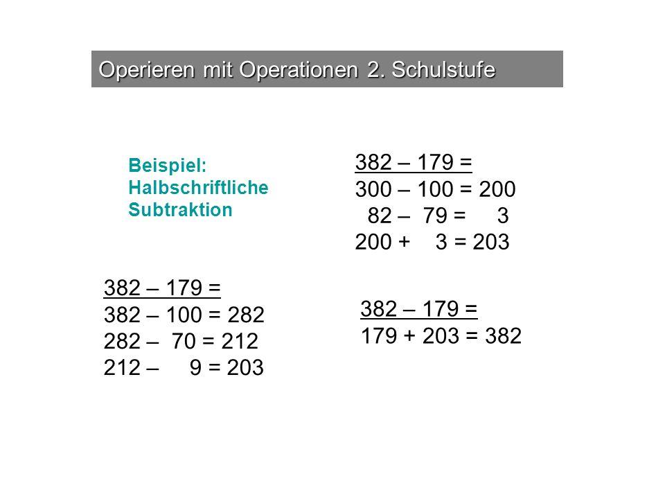 Operieren mit Operationen 2. Schulstufe 382 – 179 = 300 – 100 = 200 82 – 79 = 3 200 + 3 = 203 382 – 179 = 179 + 203 = 382 382 – 179 = 382 – 100 = 282