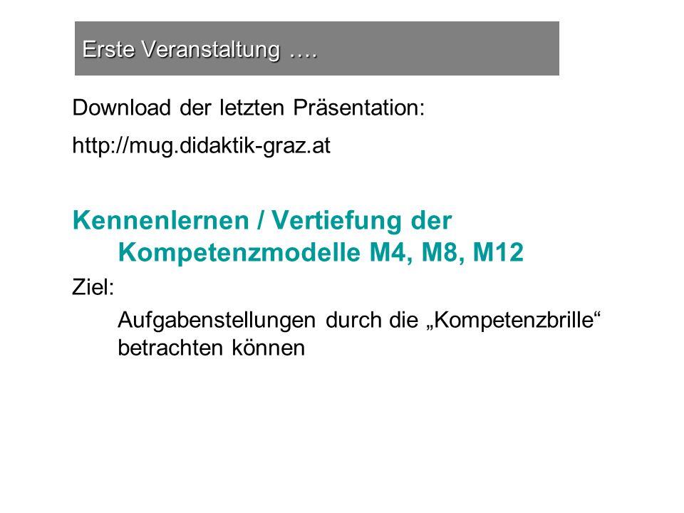 Erste Veranstaltung …. Download der letzten Präsentation: http://mug.didaktik-graz.at Kennenlernen / Vertiefung der Kompetenzmodelle M4, M8, M12 Ziel: