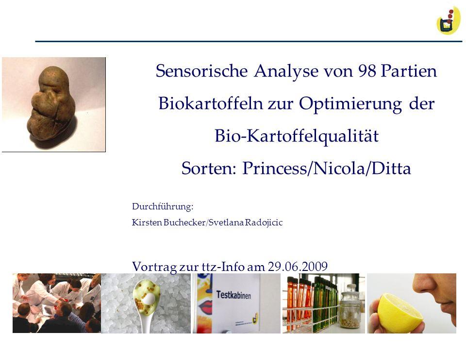 ttz-Sensorik Sensorische Analyse von 98 Partien Biokartoffeln zur Optimierung der Bio-Kartoffelqualität Sorten: Princess/Nicola/Ditta Durchführung: Ki