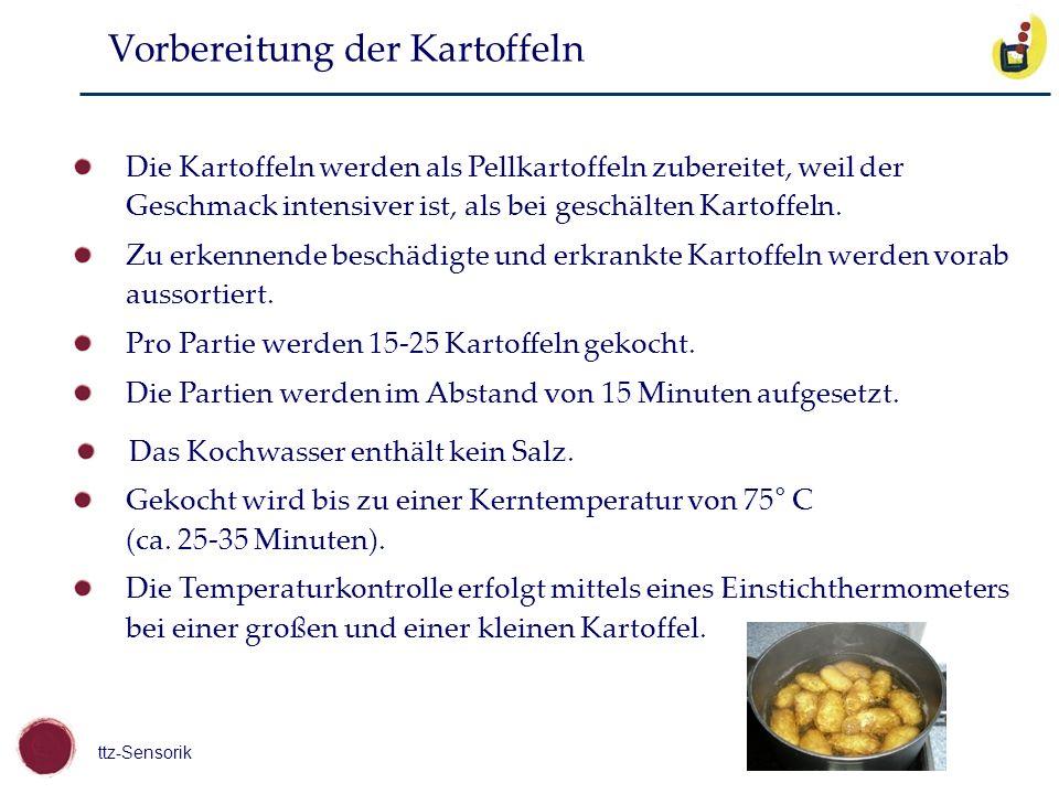 ttz-Sensorik Die Kartoffeln werden als Pellkartoffeln zubereitet, weil der Geschmack intensiver ist, als bei geschälten Kartoffeln. Zu erkennende besc